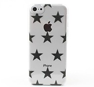 Transparent Black Stars Style Hard Back Case for iPhone 5C