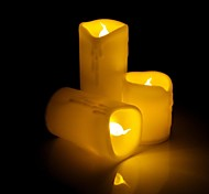 Dripping Flicker Wax Flameless LED Candle with Yellow Light - 3Pcs