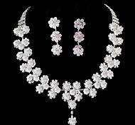 Mode Fleur perle diamant doux ensembles des femmes: collier et boucles d'oreilles (essai vente; actions: 4)