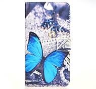 синий Баттерли шаблон PU кожаный чехол с подставкой и слот для карт памяти для Huawei Ascend g7