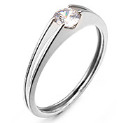 Fashion Small Zircon Silver Stainless Steel Band Rings(1 Pc)
