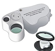 MG-9889 Double - Multiple 60X12mm 30X22mm Jewelers Magnifier 2-LED Flashlight