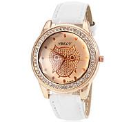 Women's Quartz Owl Dial Diamante Case PU Band Analog Fashion Watch Cool Watches Unique Watches