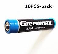 10pcs Greenmax 1.5v AAA piles zinc - manganèse de carbone
