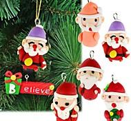 6pcs argila do polímero feito à mão acessórios de decoração de natal os presentes da árvore de natal