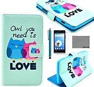 COCO FUN® Fall in Love Owl Pattern PU Leather Case with Screen Protector and Stylus for Sony Xperia SP  M35h