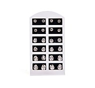 12 Pairs Clear Crystal Stud Earrings on a Card