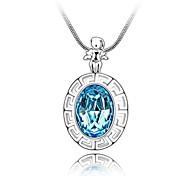 zodiaque mode Balance collier court plaqué 18 carats véritable aigue-marine de platine cristallisé strass cristal autrichien