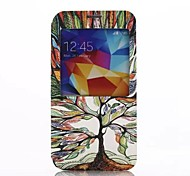 Multicolour Tree Design Pattern View Window PU Leather Case with Stand for Samsung Galaxy S5 I9600