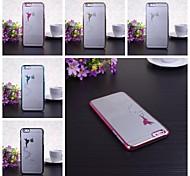 caso duro del patrón de la muchacha del ángel chapado transprent para el iphone 6 más (colores surtidos)