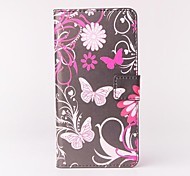 Pink Butterly Pattern PU Leather Case with Stand and Card Slot for Wiko Getaway