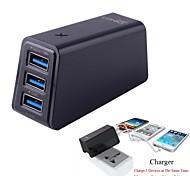 3-en-1 10.5W usb chargeur mural pliable prise unique + chargeur de voiture USB adaptateur noir (longueur: 95cm)