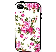 2-in-1  Pink Rose Peony Pattern TPU Back Cover with PC Bumper Shockproof Soft Case  for Apple Iphone 4/4s