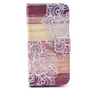 mandala padrão de madeira da flor capa de couro pu com slot para cartão e stand para Samsung Galaxy S4 mini-i9190