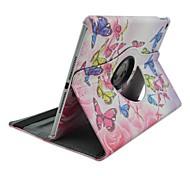 moda pintado borboletas esvoaçantes giratórios pu proteger coldre com suporte para o ar ipad 2