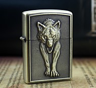 Earth Gold  Wolf Pattern Metal Relief Oil Lighter