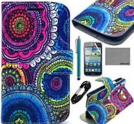 COCO FUN® Floral Tribal Pattern PU Leather Case with Film and Cable and Stylus for Samsung Galaxy Core GT-I8260 I8262