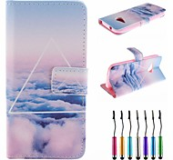 Over The Clouds Pattern PU Leather Full Body Case with Touch Pen for HTC One M8 Mini