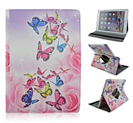Fashion Painted Butterfly PU Tablet Protect Case with Stand for iPad Air 2