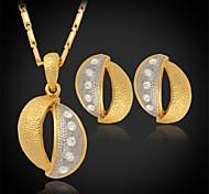u7® 18k Platino Oro 2 colores rhinestone chapado conjunto de joyas de cristal