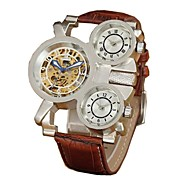 Men's Skeleton Multiple Dial  Leather Strap Automatic Mechanical  Waterproof Watch(Assorted Colors) Cool Watch Unique Watch