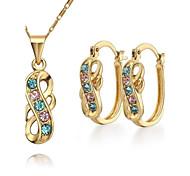 Z&X® Korean Style 18K Gold Plated Rhinestone Pendant Necklace Earrings Jewelry Set (1 set)
