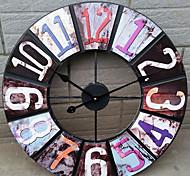 mordern número de ferro colorido relógio de parede rodada