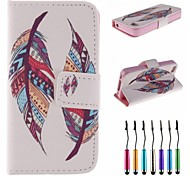 Two Pieces of Feathers Pattern PU Leather Full Body Case with Touch Pen for iPhone 4/4S