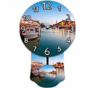 Mordern Yacht and River Wooden Round Wall Clock