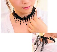 arbeiten Sie koreanische Edelstein Palast Spitzenkleid Pullover Halskette # 18-1