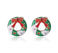 Christmas Gift Bow Round Earring