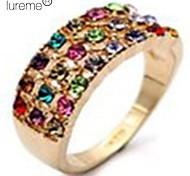 lureme®multicolor bague en diamant de cristal constellée (de taille aléatoire)