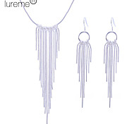 Lureme women's 925 Sterling Silver Plated Tassel Jewelry Set(Necklace & Earrings)