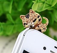1pcs diamante 3.5mm gato soñoliento tapón anti-polvo para el iphone y otros 6 (colores aleatorios)