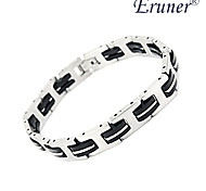 Eruner® Men's Fashion Silica Gel and Titanium Steel Bracelet