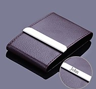 Personalized Coffee Leather and Stainless Steel Card Case