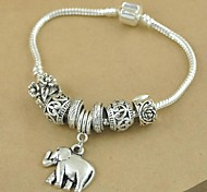 1PCS Fashion National Wind  Carved Beads Silver Elephant Bracelet