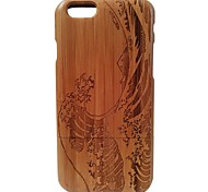 Kyuet Bamboo Case Artist Made Natural Bamboo Laser Engraving Waves Shell Cover Skin Cell Phone Case for iPhone 6