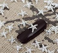 50pcs Silber-Metallic leuchtenden Stern Nail Art Schmuck-Legierung Nagelspitzen vernish Maniküre Dekorationen