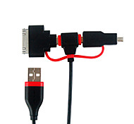 1M 3.28FT USB2.0 to Mini 5Pin + Micro USB2.0 M/M Charging Cable with Mini 8Pin + Apple 30Pin Connector