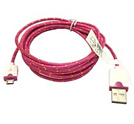 2M 6.6FT Braided Micro USB Sync Data Cable USB Charger for Samsung S2/S3/S4 HTC Sony LG All Android Phones (Rose)