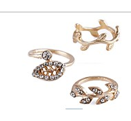 Leaf Diamond Three-piece  Midi Rings