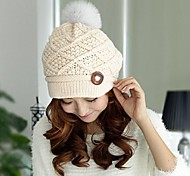 moda botão tricô chapéu das mulheres