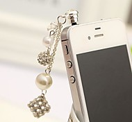 New Rhinestone Square Pearl  3.5mm Anti-dust Plug for iphone