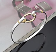 Fashion Sterling Silver Plated Gold Plated Circle Decoration  Bangle Women's Bracelet