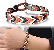 Fashion Leather Color Line Woven Men's Bracelet