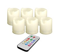 Set of 6 Remot Controlled Color Changing Plastic LED Votive Candles