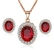 Emerald Elegant 18K Rose Gold Pated Red\Blue Austrian Crystal Pendant Necklace Earrings Jewelry Set
