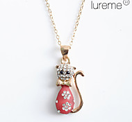 Lureme®Cat with Inlayed Rhinestone Necklaces (Assorted Colors)
