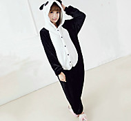 Plump Panada Black and White Polar Fleece Kigurumi Pyjamas Nachtwäsche Cartoon Tier Halloween Kostüm